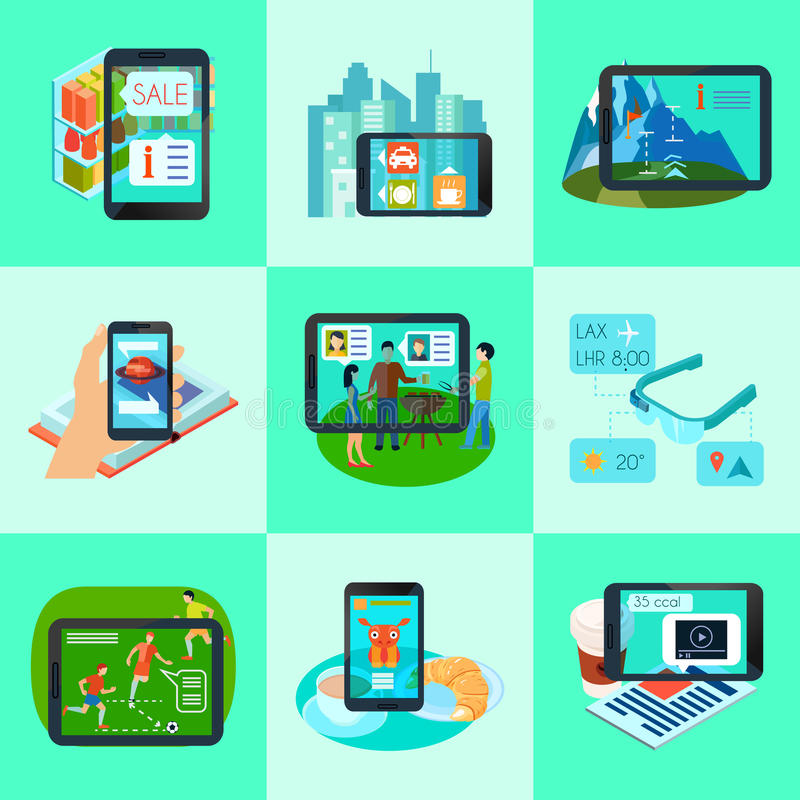 Augmented Reality Square Icons Set stock illustration