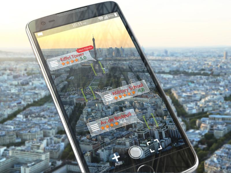 Augmented reality travel application concept. Mobile smart phon stock illustration
