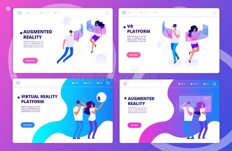 Augmented reality, virtual reality games and platform landing page templates vector set. Illustaration of virtual platform, vr page cyberspace stock illustration