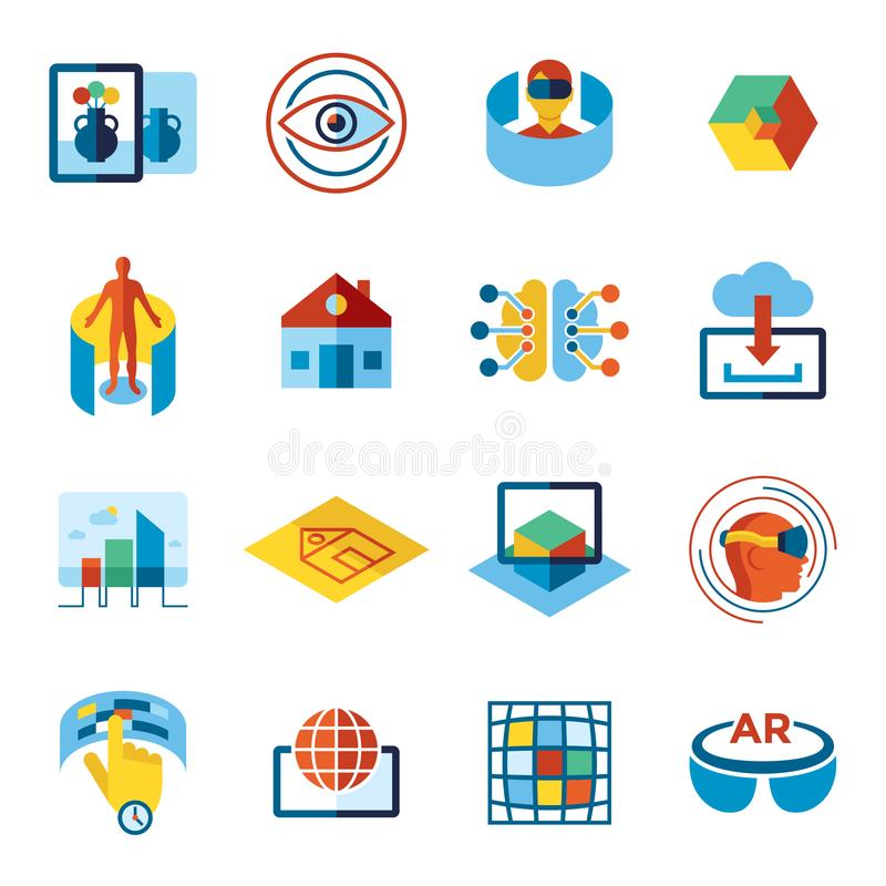 Augmented and virtual reality icons set vector illustration