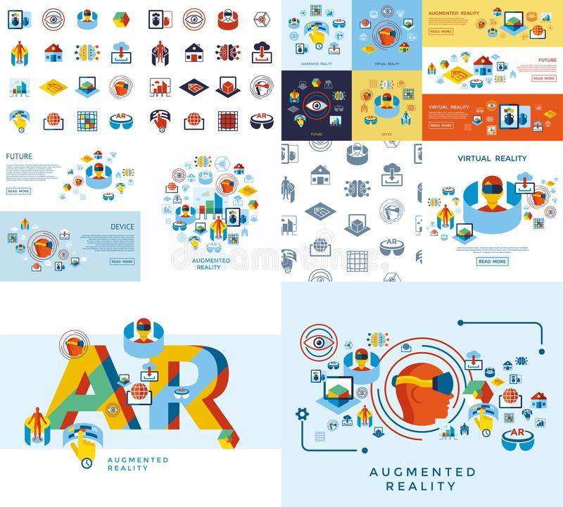 Augmented and virtual reality icons set. Digital vector augmented and virtual reality icons set infographics vector illustration