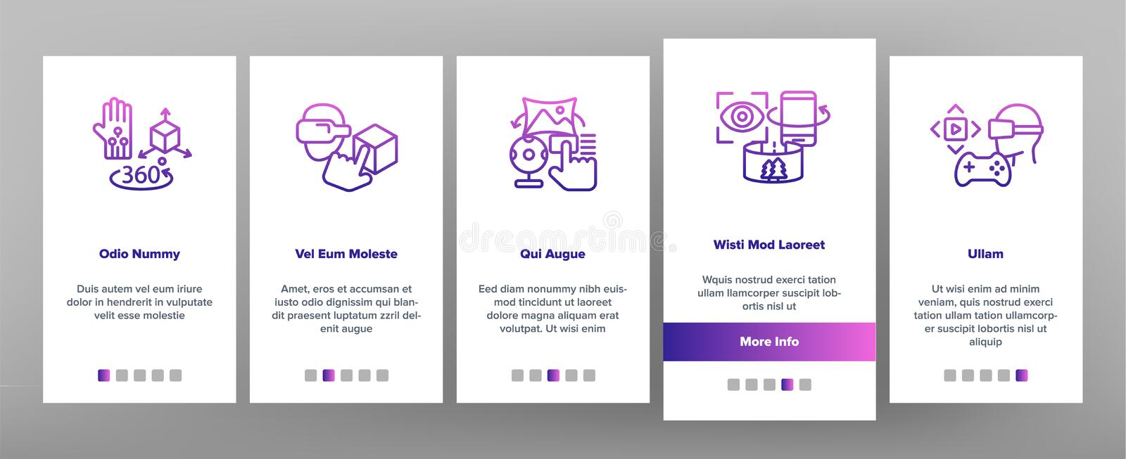 Augmented, Virtual Reality Vector Onboarding Mobile App Page Screen stock illustration