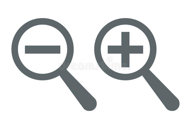 Augmenter-diminuez les graphismes de loupes Symboles plus et n?gatifs d'outil de bourdonnement Signes de l'information de recherc illustration libre de droits