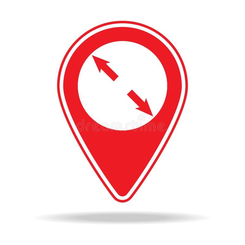 augmentez l'icône de goupille de carte Élément d'icône d'avertissement de goupille de navigation pour les apps mobiles de concept illustration stock