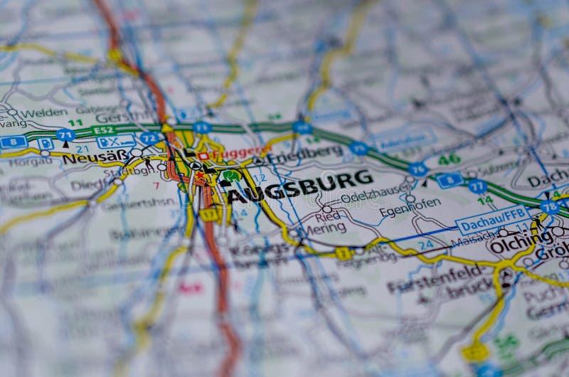 Augsburg en mapa fotografía de archivo libre de regalías