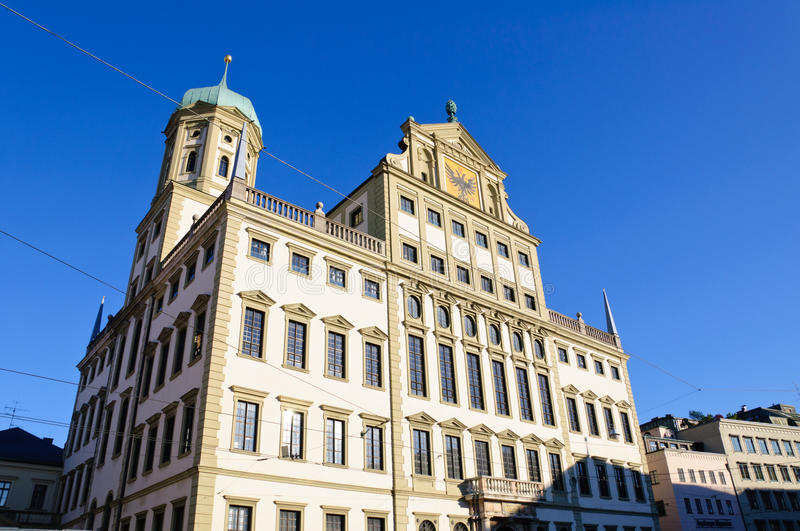 Augsburg, Germany. City Hall in Augsburg. It is a symbol of Augsburg and built in the German Renaissance style royalty free stock photo