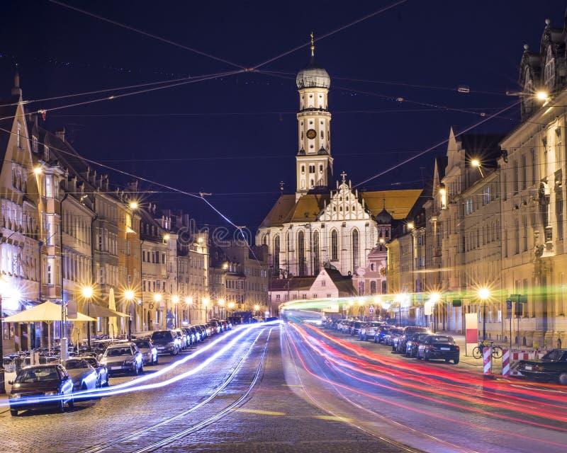 Augsburg, Germany. Cityscape at night royalty free stock photo
