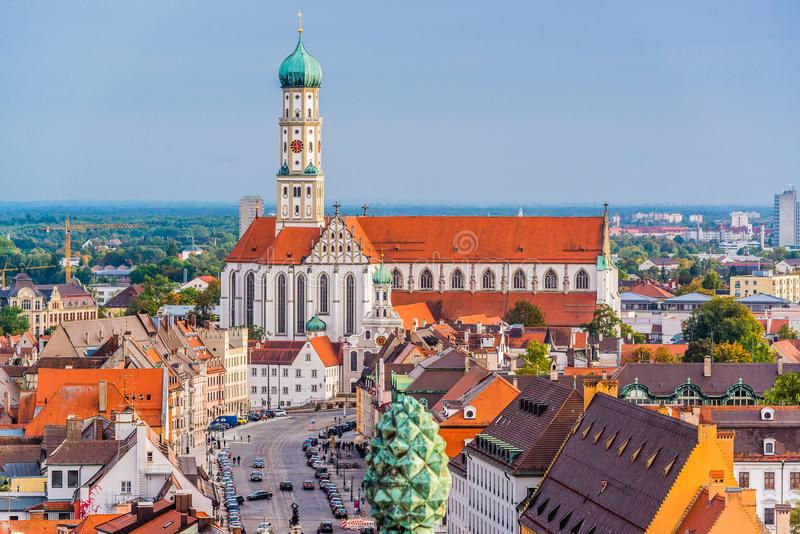Augsburg, Germany Town Skyline. Augsburg, Germany skyline with cathedrals stock photo