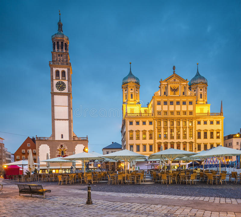 Augsburg Germany. Augsburg, Germany townscape at Rathausplatz Plaza royalty free stock photography