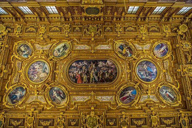 Augsburg Golden Hall. Augsburg is a city in Swabia, Bavaria, Germany. It was a Free Imperial City for over 500 years, and is notable for the Augsburg Confession stock photography
