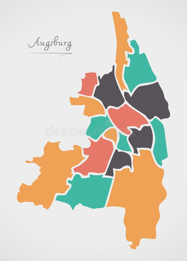 Augsburg Map with boroughs and modern round shapes. Illustration vector illustration