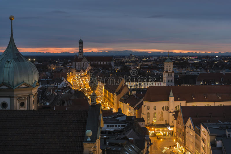 Augsburg, with Maximilian Street at Christmas. Overview of Augsburg with the illuminated Maximilian Street at Christmas stock photo