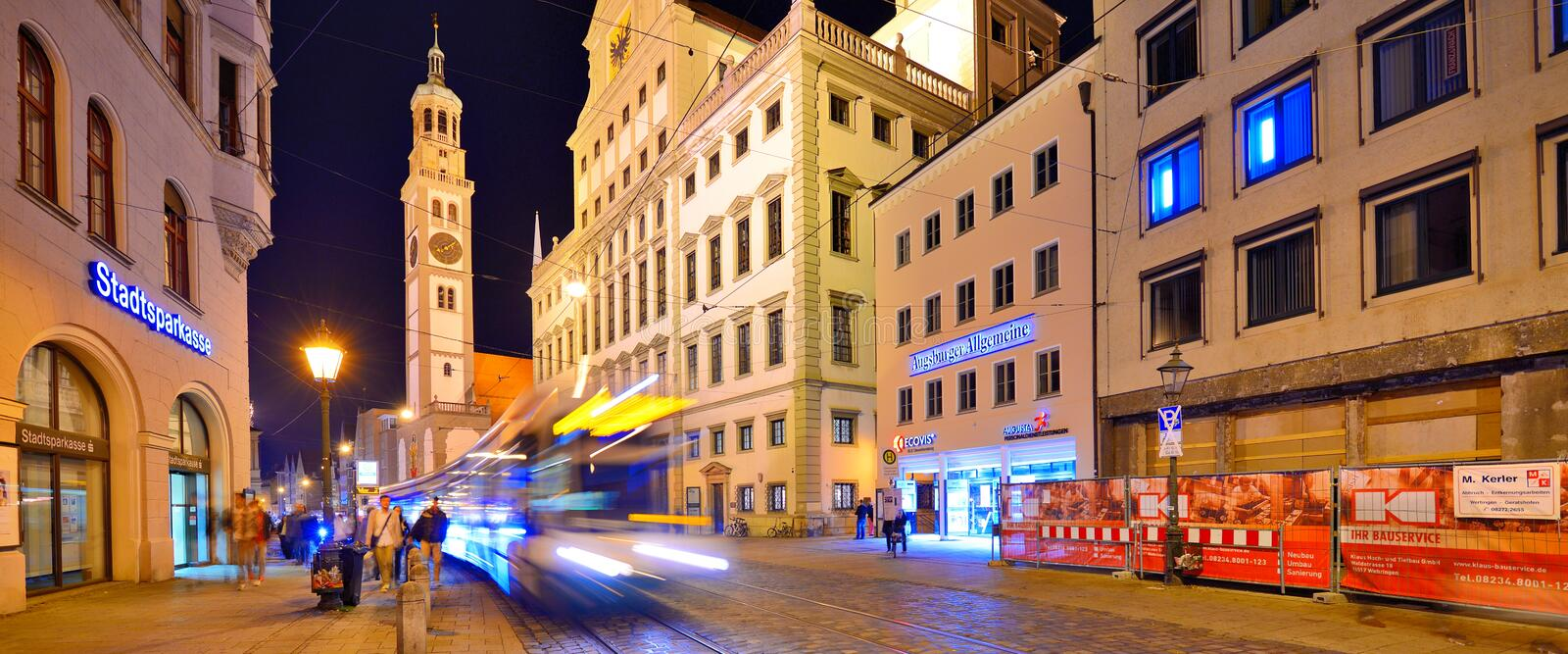 Augsburg. Traffic in Rathaus Platz September 28, 2013 in Augsburg, Germany. The Bavarian town was once a Free Imperial City for over 500 years royalty free stock photography