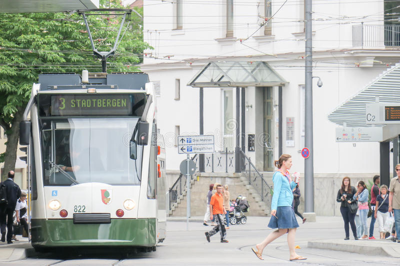 Augsburg tram. Tram in Augsburg with people and copy space royalty free stock photo