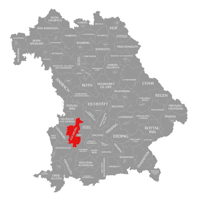 Augsburska okręg administracyjny czerwień podkreślająca w mapie Bavaria Niemcy ilustracji