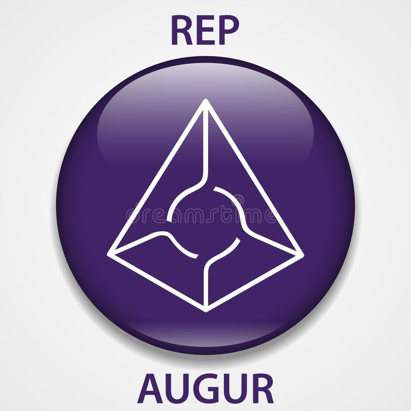 Augur Coin cryptocurrency blockchain icon. Virtual electronic, internet money or cryptocoin symbol, logo.  stock illustration