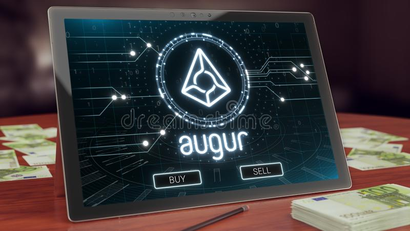 Augur cryptocurrency logo on the pc tablet display. Neon bright blockchain symbol. Augur cryptocurrency logo on the pc tablet display. Neon bright blockchain vector illustration