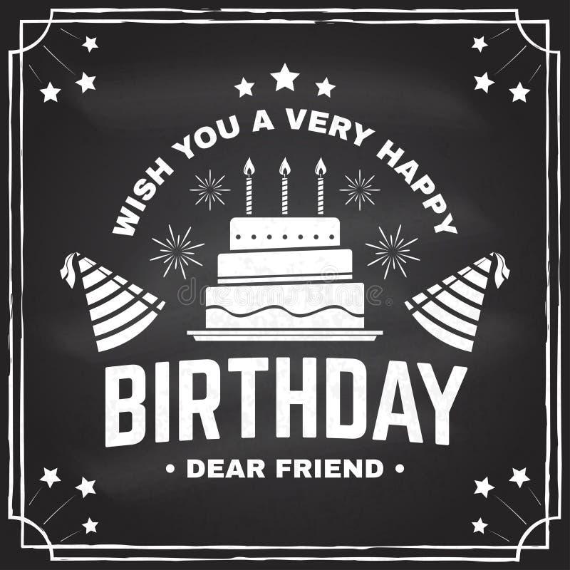 Augurigli un caro amico di compleanno molto buon Distintivo, carta, con il cappello di compleanno, il fuoco d'artificio ed il dol illustrazione di stock