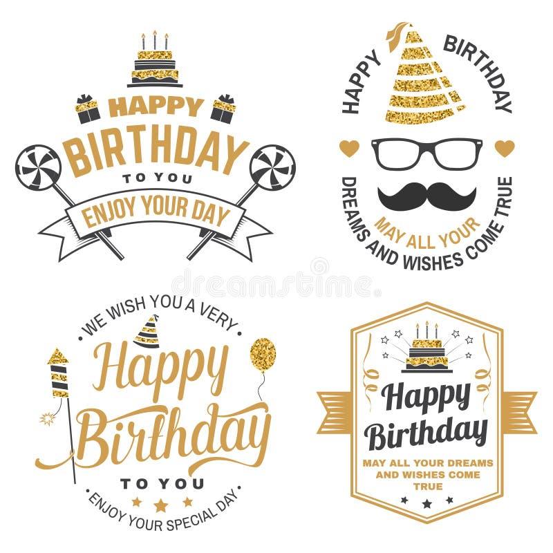 Augurigli un caro amico di compleanno molto buon Distintivo, carta, con il cappello di compleanno, il fuoco d'artificio, i baffi  royalty illustrazione gratis