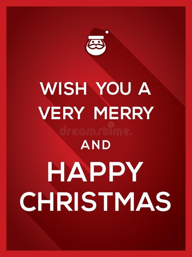 Augurigli un fondo molto allegro e felice di Natale di tipografia illustrazione vettoriale