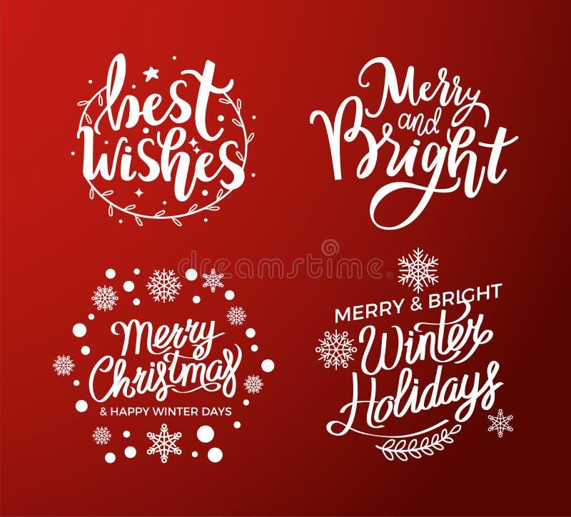 Augurio le vacanze invernali luminose allegre di Natale illustrazione vettoriale
