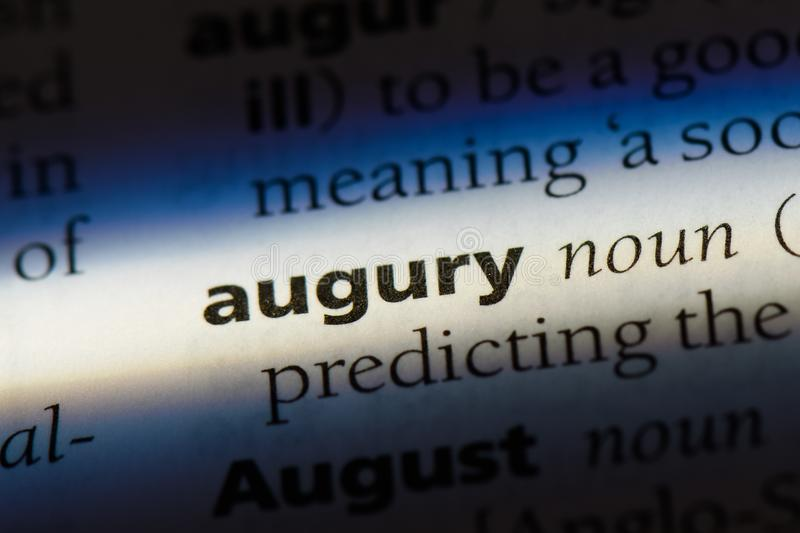 Augury. Word in a dictionary.  concept royalty free stock image