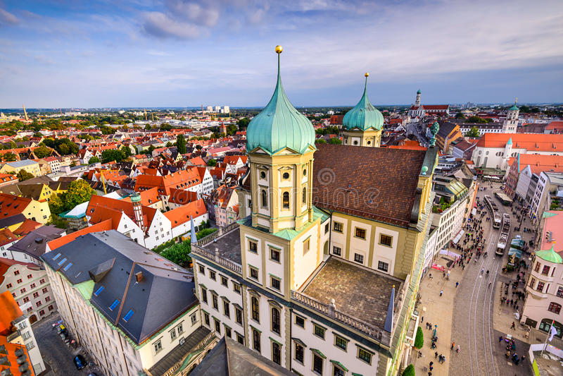 Augusburg, ορίζοντας της Γερμανίας στοκ εικόνα