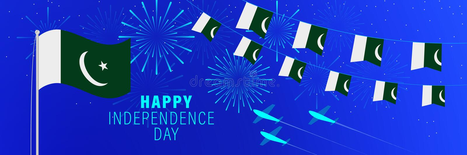 August 14 Pakistan Independence Day greeting card. Celebration background with fireworks, flags, flagpole and text royalty free illustration