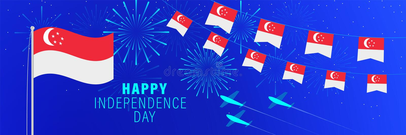 August 9 Singapore Independence Day greeting card. Celebration background with fireworks, flags, flagpole and text stock illustration