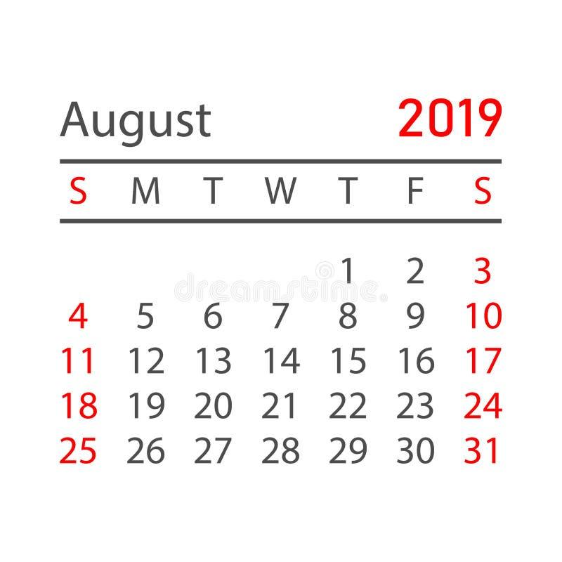 August 2019 år för kalender i enkel stil Kalenderstadsplaneraredesi stock illustrationer