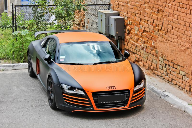 Ukraine, Kiev; August 20, 2013; Audi R8 ABT in the city royalty free stock image