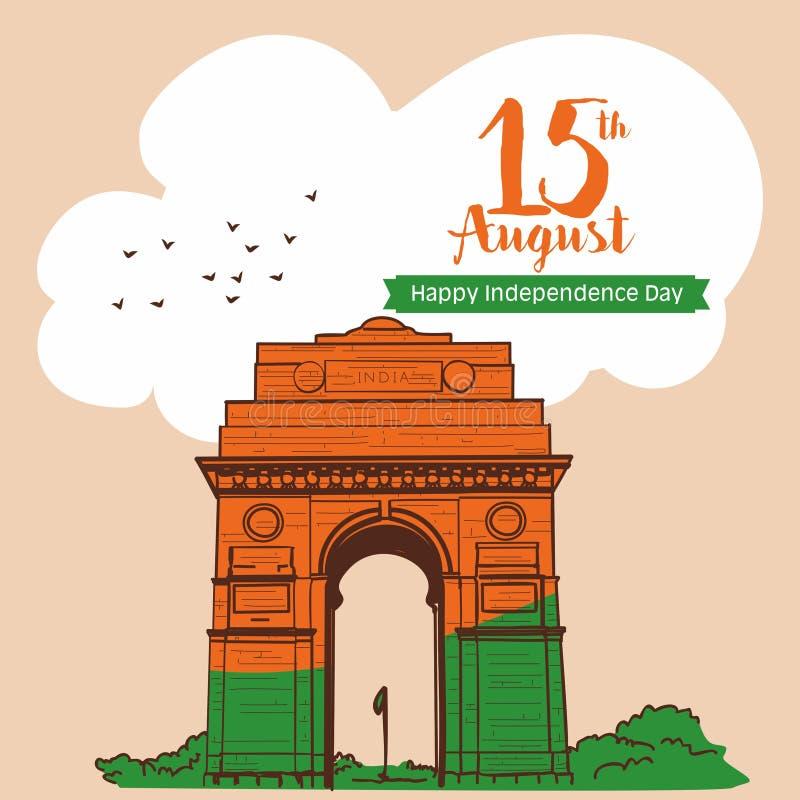 august beröm 15 Den Indien porten på delhi Indien skissar vektorillustrationen royaltyfri illustrationer