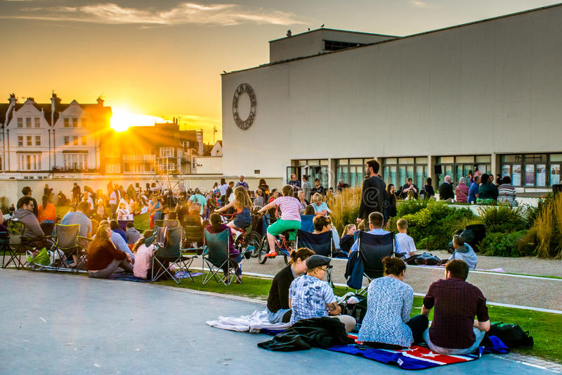8 August, 2015, Bexhill, England, crowds gather for film screening stock images