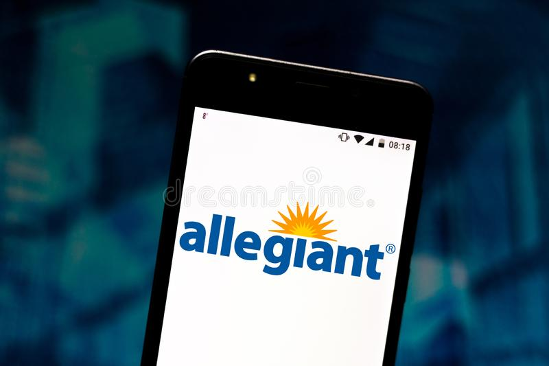 August 2, 2019, Brazil. In this photo illustration the Allegiant Air logo is displayed on a smartphone. In this photo illustration the Allegiant Air logo is royalty free stock image