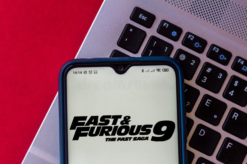 August 10, 2020, Brazil. In this photo illustration the Fast and Furious 9 F9: The Fast Saga movie logo is displayed on a stock photo
