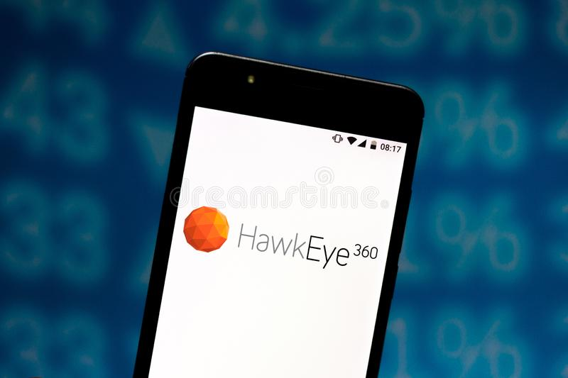 In this photo illustration the HawkEye 360 logo is displayed on a smartphone. August 6, 2019, Brazil. In this photo illustration the HawkEye 360 logo is royalty free stock image