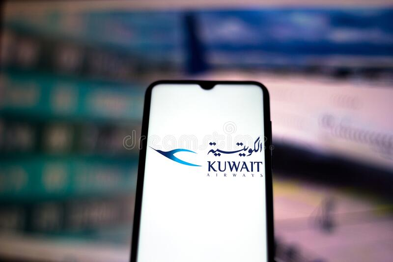August 10, 2020, Brazil. In this photo illustration the Kuwait Airways logo is displayed on a smartphone royalty free stock photos