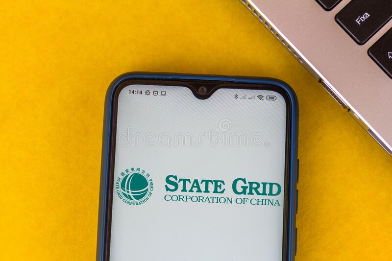 August 10, 2020, Brazil. In this photo illustration the State Grid Corporation of China SGCC logo is displayed on a smartphone royalty free stock images
