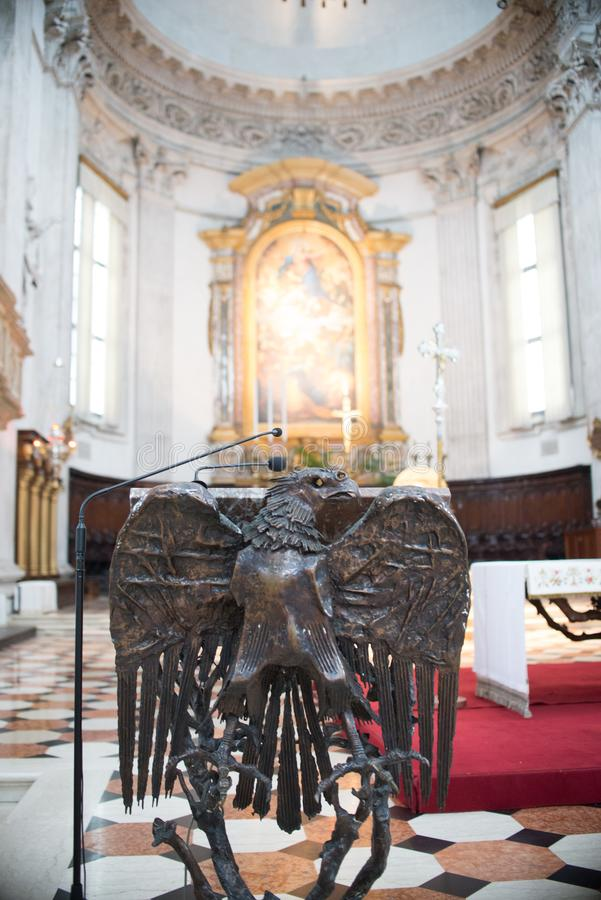 August 06 2017, Brescia, Italy, inside the Old cathedral Brescia Church, stock photography