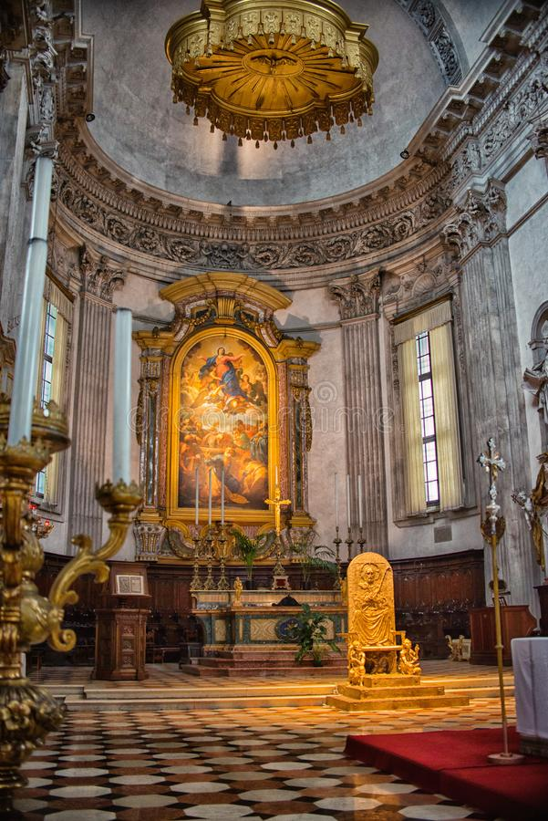 August 06 2017, Brescia, Italy, inside the Old cathedral Brescia Church, royalty free stock photo