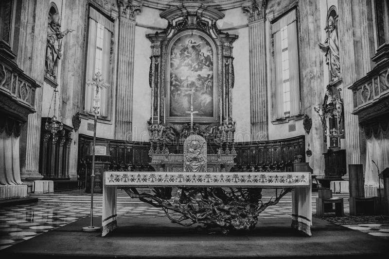 August 06 2017, Brescia, Italy, inside the Old cathedral Brescia Church, royalty free stock image