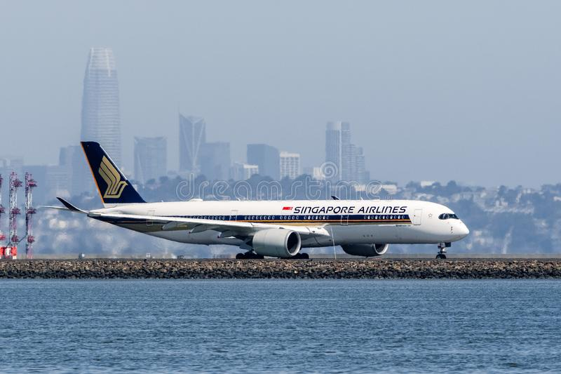August 31, 2019 Burlingame / CA / USA - Singapore Airlines aircraft preparing for take off at San Francisco International Airport royalty free stock images