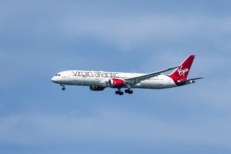August 19, 2019 Burlingame / CA / USA - Virgin Atlantic aircraft preparing for landing at San Francisco Airport royalty free stock photos