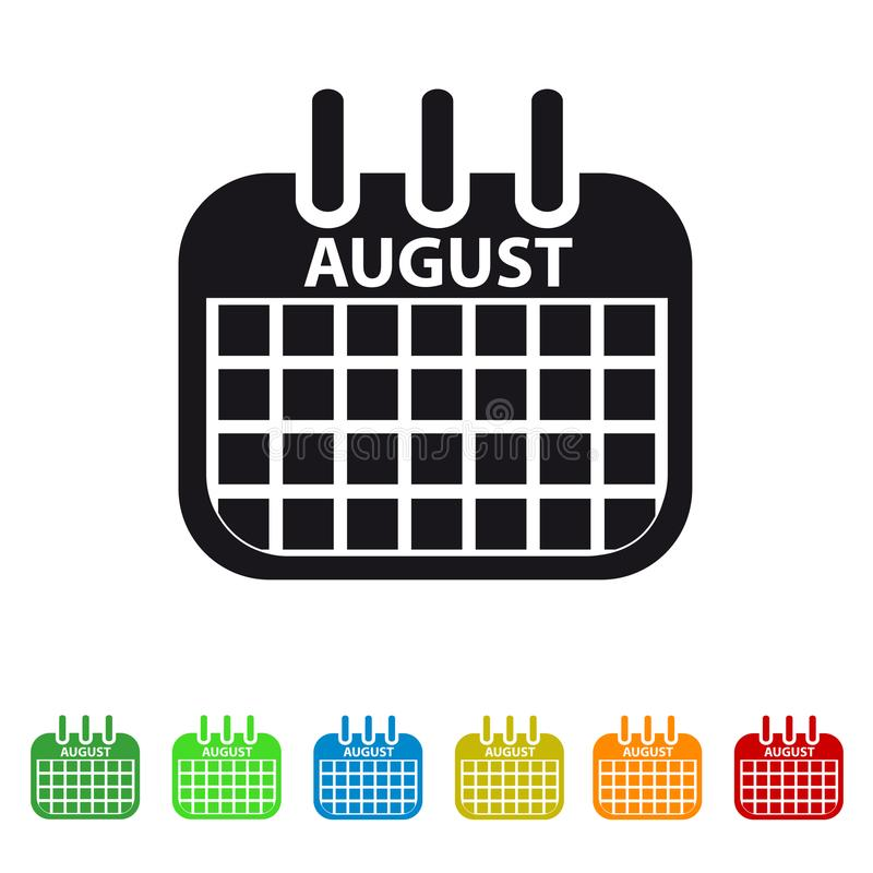 August Calendar Icon - Colorful Vector symbol royalty free illustration