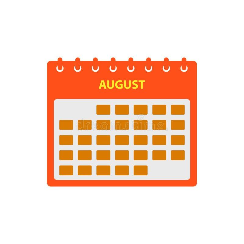 August Calendar Icon Set. stock illustration