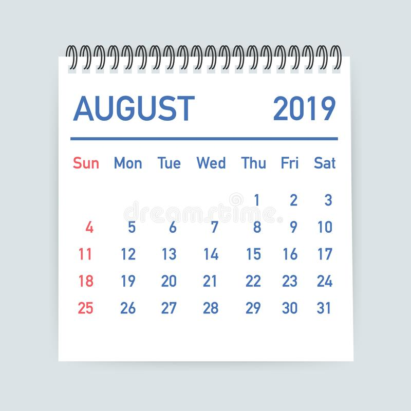 August 2019 Calendar Leaf. Calendar 2019 in flat style. A5 size. Vector illustration. royalty free illustration