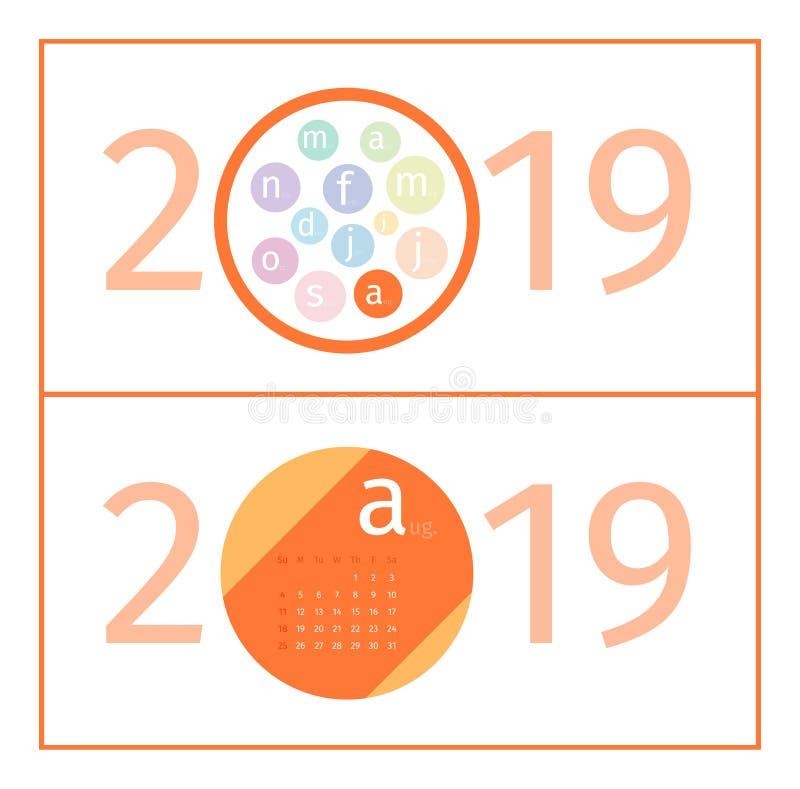 August Calendar Page Template 2019 vektor abbildung