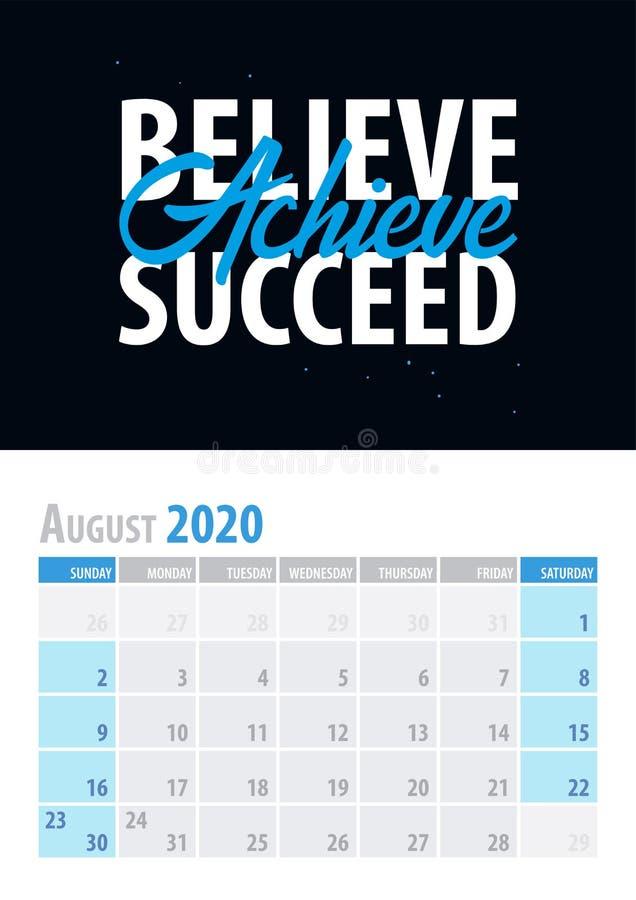 August Calendar Planner 2020 met motievencitaat op zwarte achtergrond Vector illustratie royalty-vrije illustratie