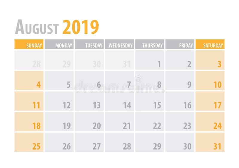 August Calendar Planner 2019 in schone minimale lijst eenvoudige stijl Vector illustratie royalty-vrije illustratie