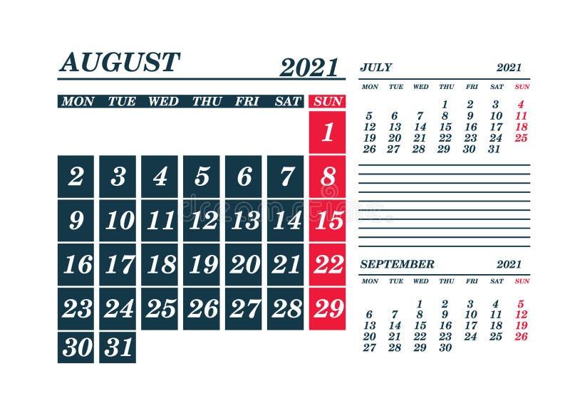 2021 August Calendar Planner Stock Vector Illustration Of English Date 194690379